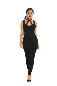 Sexy Halter Low Back Black Jersey Cut Out Clothing Woman Party Special Occasion Jumpsuit