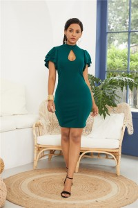 Sexy High Neck Ruffled Sleeve Turquoise Jersey Clothing Cut Out Short Mini Woman Casual Dress