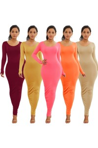 Sexy Long Sleeve Pink Jersey Maxi Woman Clothing Spring Fall Casual Dress