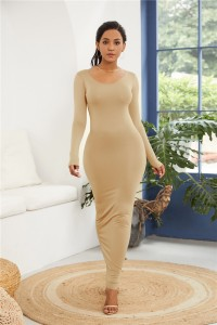 Sexy Long Sleeve Nude Jersey Maxi Woman Clothing Spring Fall Casual Dress