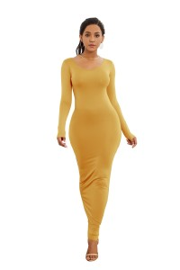 Sexy Long Sleeve Yellow Jersey Maxi Woman Clothing Spring Fall Casual Dress