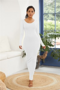 Sexy Long Sleeve White Jersey Maxi Woman Clothing Spring Fall Casual Dress