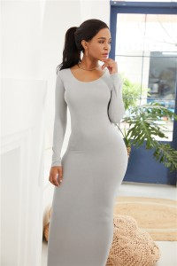 Sexy Long Sleeve Silver Jersey Maxi Woman Clothing Spring Fall Casual Dress