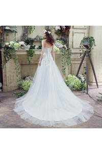 Sparkly A Line Crystal Wedding Dress With Corset Back Train