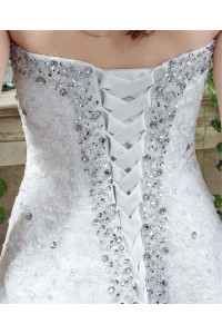 Sparkly A Line Crystal Wedding Dress With Corset Back