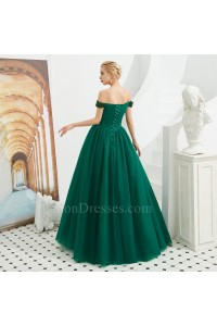 Sparkly Beaded Ball Gown Prom Quinceanera Dress Off The Shoulder Corset Dark Green Tulle