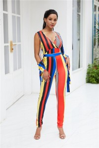 V Neck Cold Shoulder Woman Clothing Striped Jumpsuit With Waist-tie