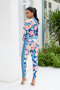 V Neck Long Sleeve Printed Woman Clothing Two Piece Suit