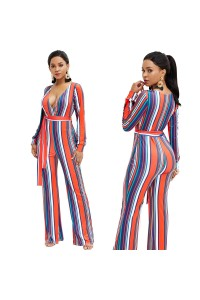 V Neck Long Sleeve Wide Leg Pants Red Woman Clothing Striped Jumpsuit With Waist-tie