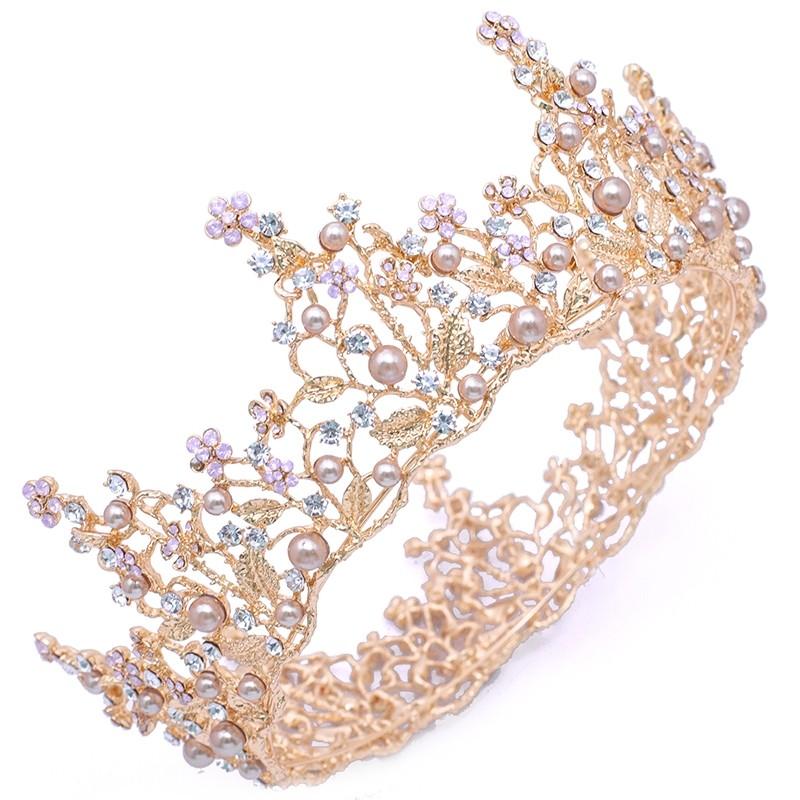 Tiara de Luxo Zircônia Pétalas Pink e Rosa Nude Dourada