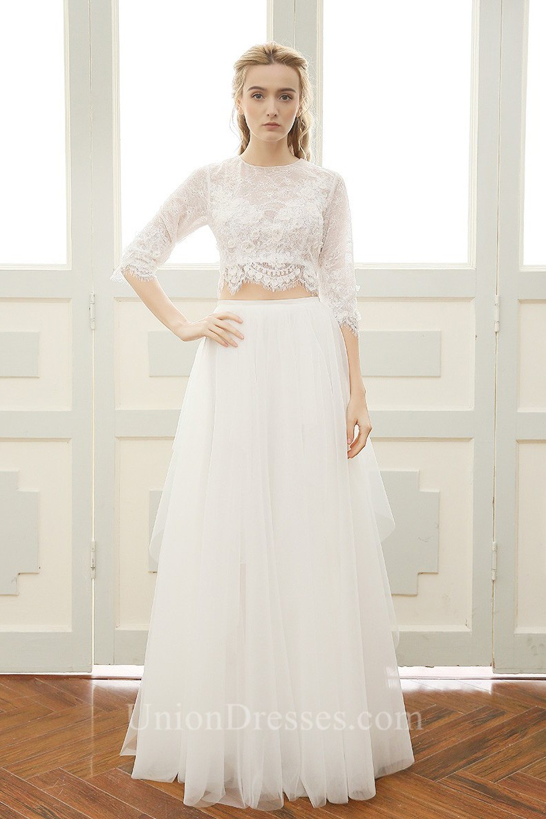 A Line High Neck Tulle Lace Sleeve Boho