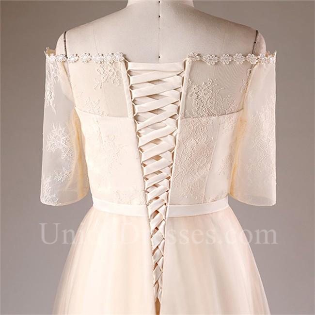 A Line Off The Shoulder Tea Length Champagne Tulle Plus Size Wedding Dress
