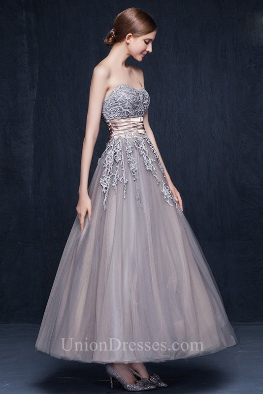 A Line Strapless Ankle Length Grey Tulle Lace Colored