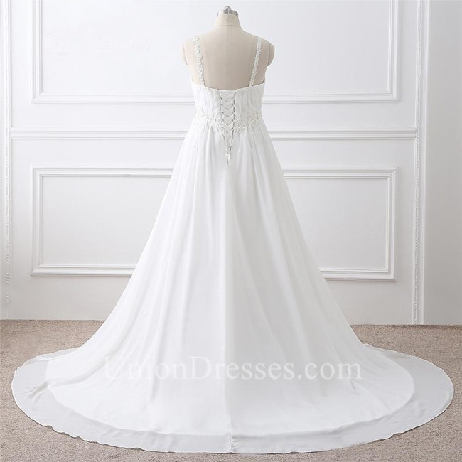 A Line Sweetheart Empire Waist Chiffon Plus Size Wedding Dress With Straps