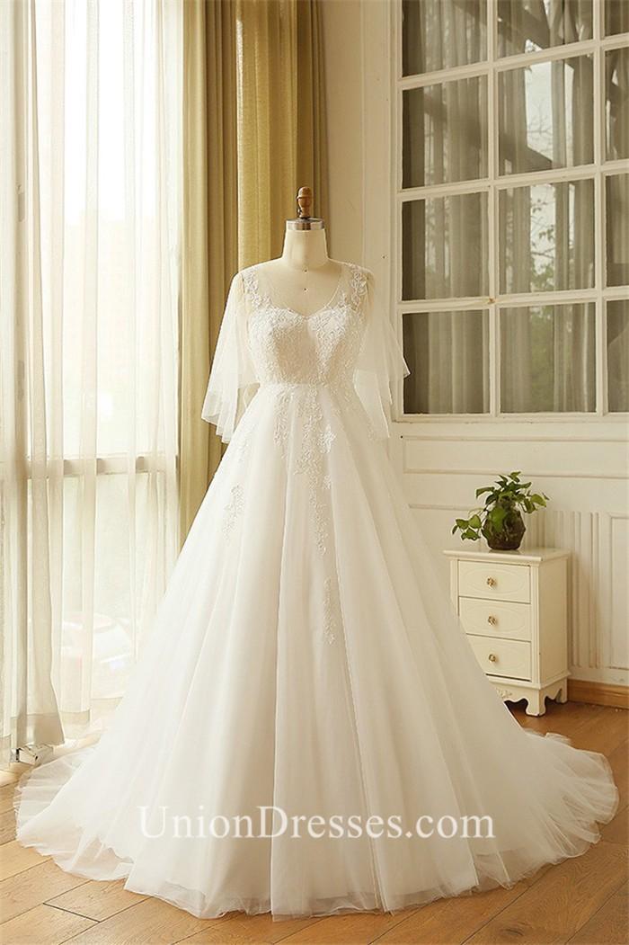 A Line V Neck Cape Sleeve Tulle Lace Plus Size Wedding
