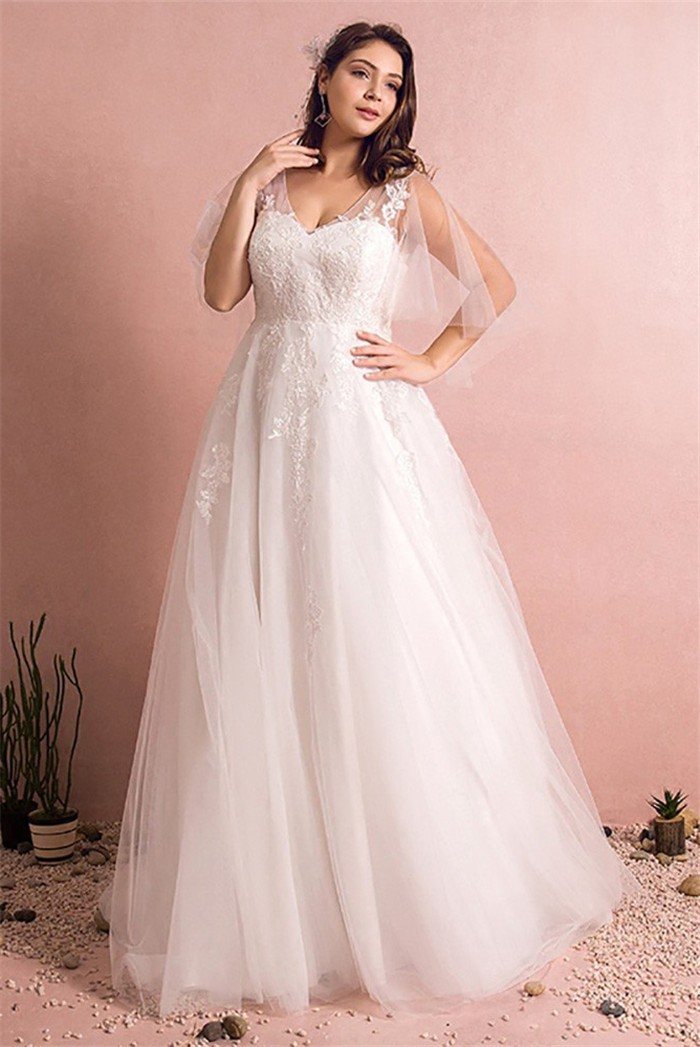 A Line V Neck Cape Sleeve Tulle Lace Plus Size Wedding
