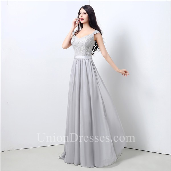 0ff2ab385 A Line V Neck Long Silver Chiffon Lace Beaded Prom Dress With Sash ...