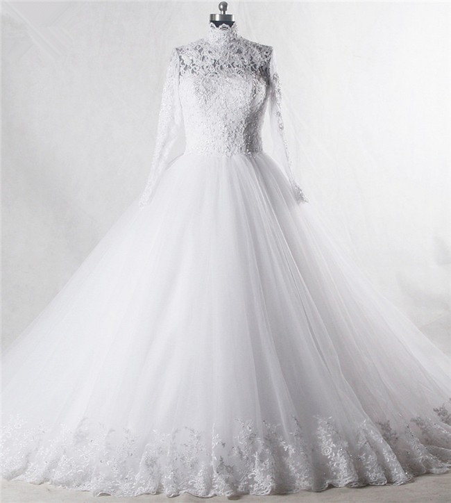 Ball Gown High Neck Long Sleeve Tulle Lace Beaded Wedding