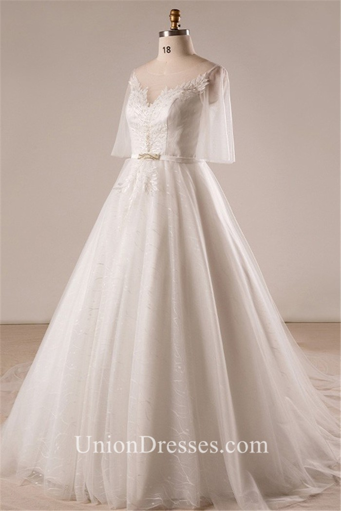 Ball Gown Illusion Neckline Tulle Sleeve Plus Size Wedding Dress Cathedral  Train