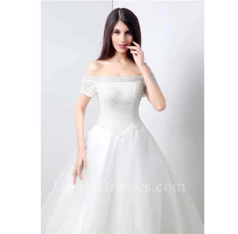 Drop Sleeve Wedding Gowns With: Ball Gown Off The Shoulder Drop Waist Corset Back Tulle