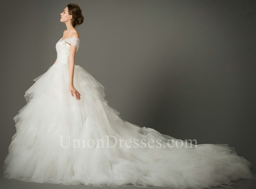 Ruffle Ball Gown Wedding Dress: Ball Gown Off The Shoulder Tulle Ruffle Layered Wedding