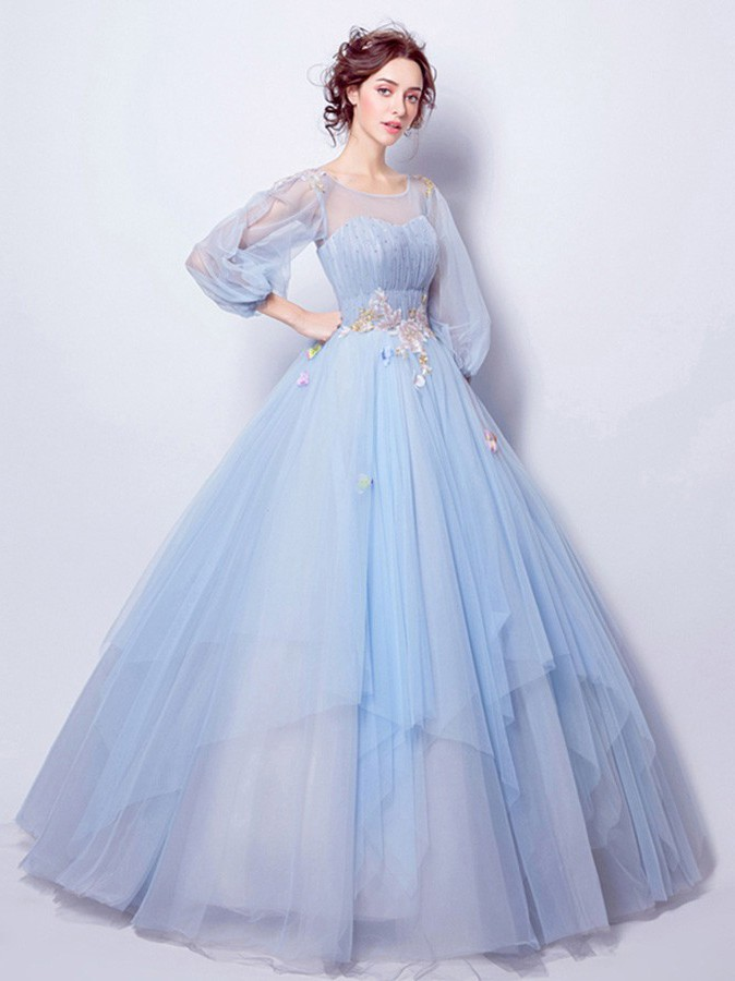 Ball Gown Scoop Neck Long Sleeve Light Blue Tulle Wedding