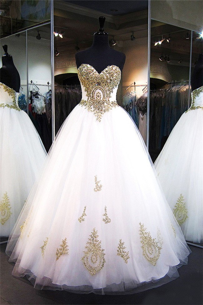Ball Gown Sweetheart Corset Back White Tulle Gold Applique