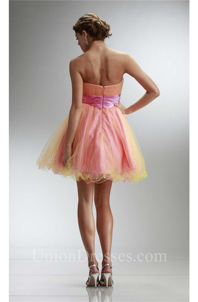 87b200cdd lightbox moreview · Ball Strapless Short Pink And Yellow Tulle Beaded  Cocktail Prom Dress lightbox moreview