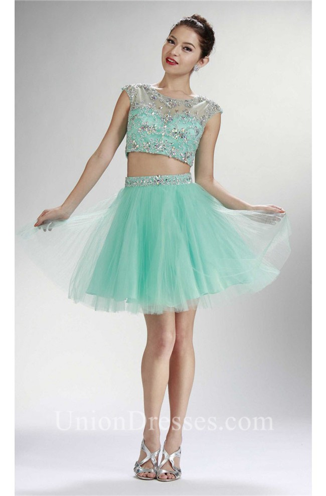 3bf94b49858b Cute Cap Sleeve Two Piece Short Mint Green Tulle Beaded Prom Dress lightbox  moreview