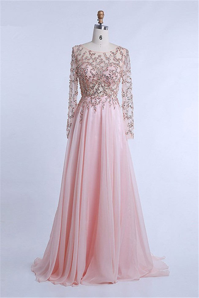 Elegant Sheer Long Sleeve Light Pink Chiffon Tulle Beaded