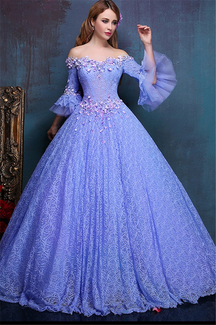 Fairy Ball Gown Off The Shoulder Flare Sleeve Lavender