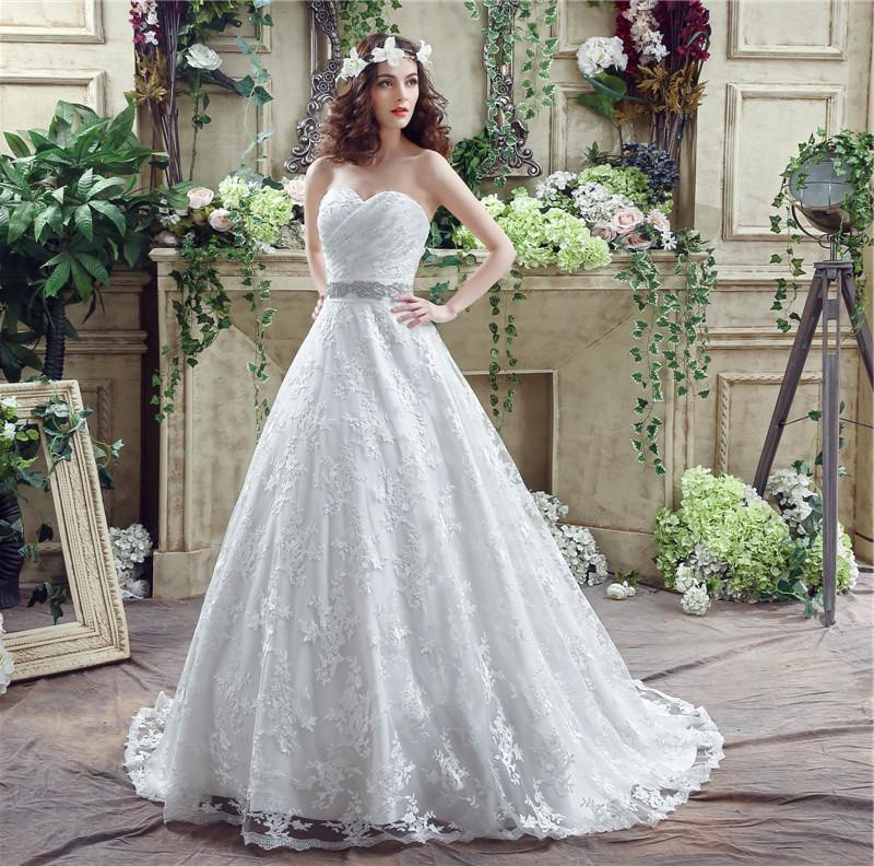 Fairy Wedding Dress.Fairy Tale Ball Gown Sweetheart Lace Corset Wedding Dress With Crystals Sash