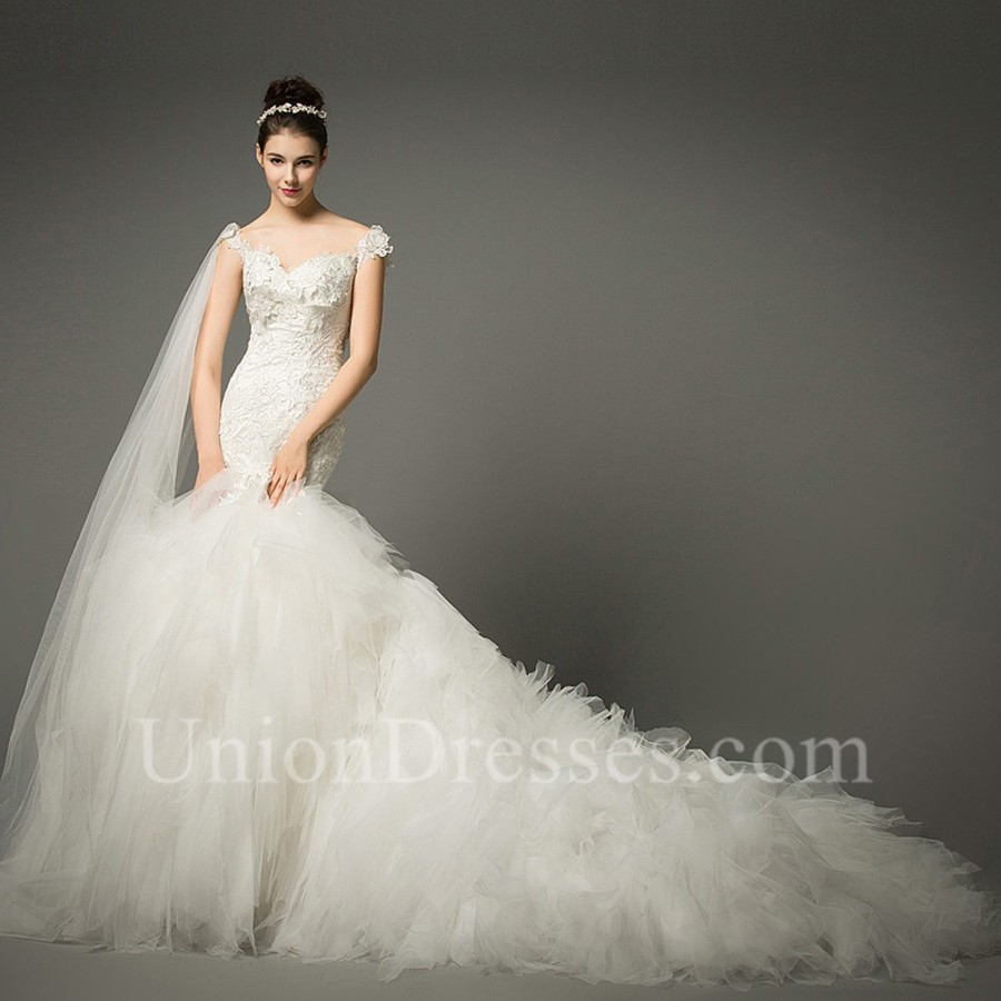 Fit And Flare Off The Shoulder Lace Tulle Ruffle Mermaid Wedding Dress With Shawl