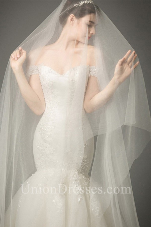 Fit And Flare Off The Shoulder Tulle Lace Corset Mermaid Wedding Dress