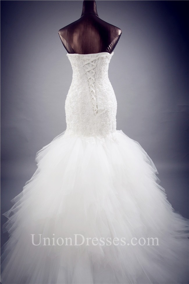 Fit And Flare Strapless Lace Tulle