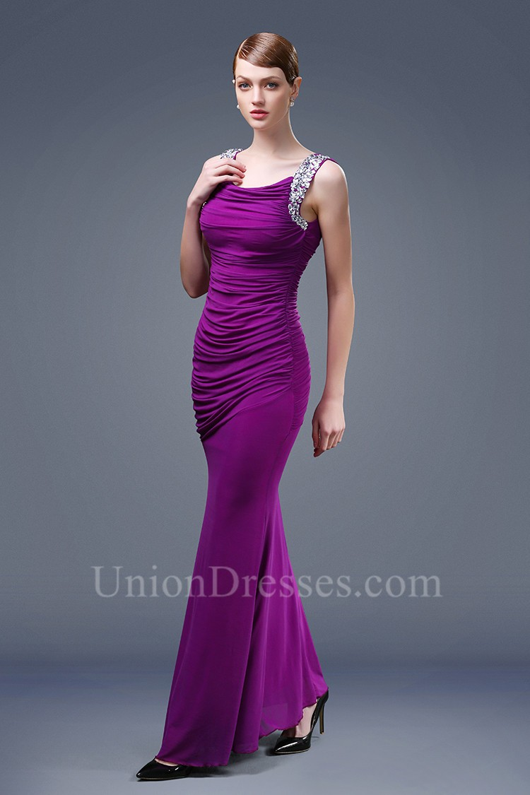 Fitted Scoop Neck Open Back Fuchsia Chiffon Ruched