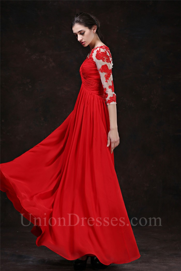 Flowing A Line V Neck Empire Waist Long Red Chiffon