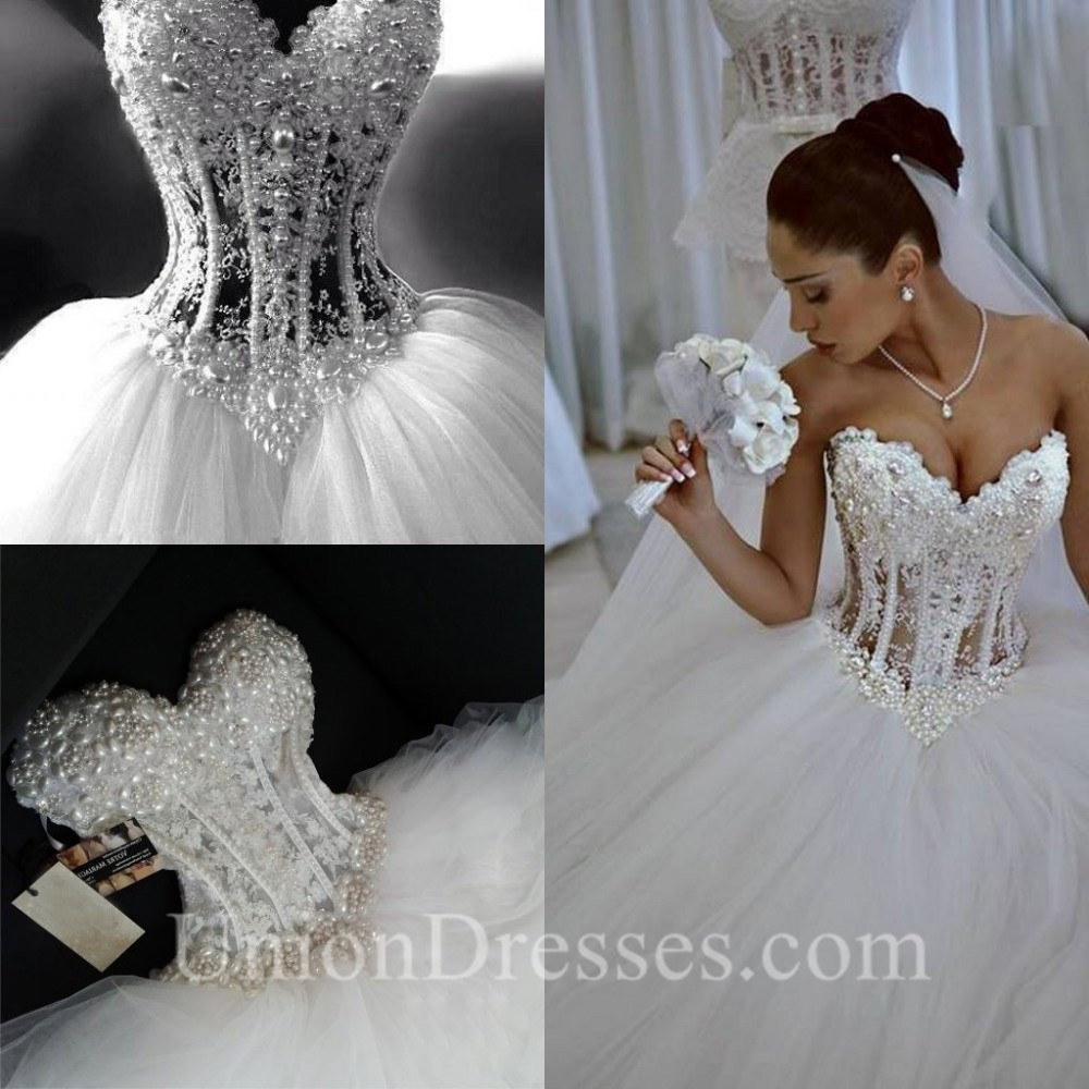 Corset Wedding Dresses.Gorgeous Ball Gown Sweetheart See Through Tulle Pearl Beaded Corset Wedding Dress