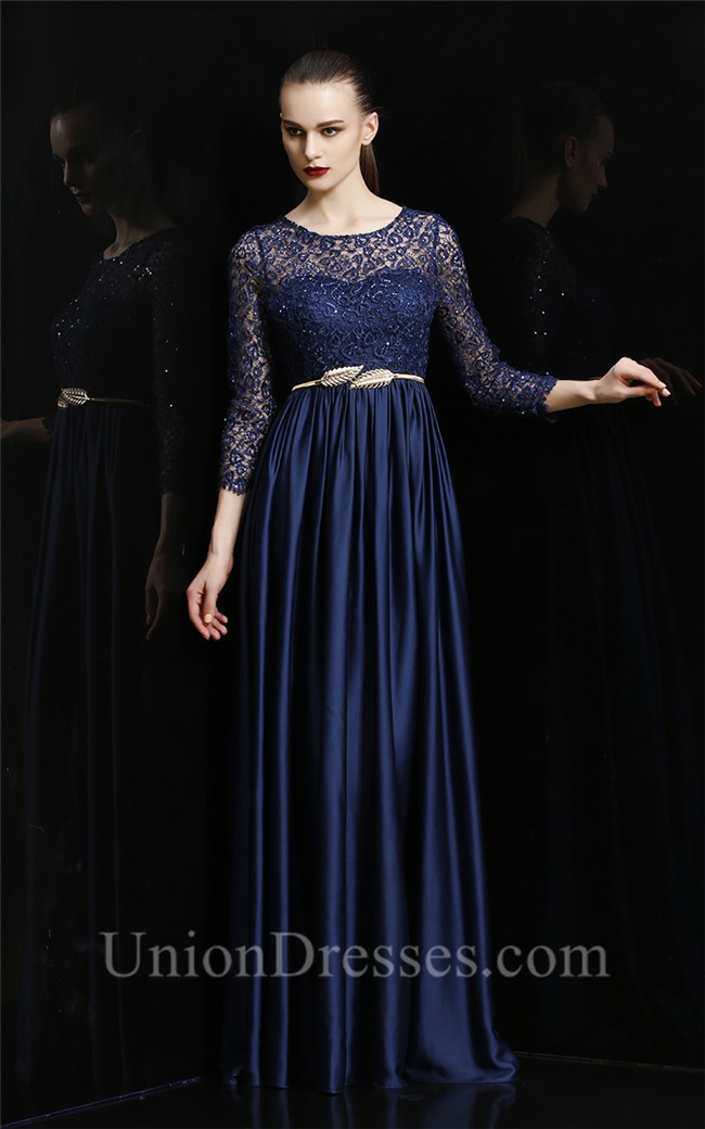 Completely new Gorgeous Boat Neck Long Navy Blue Silk Lace Sleeve Evening Prom  LU01