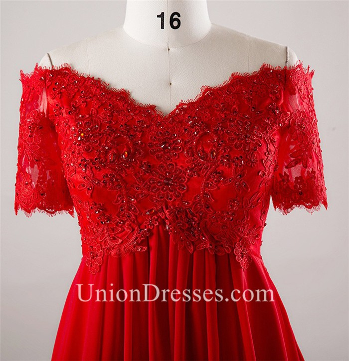 Off The Shoulder Empire Waist Lace Sleeve Red Chiffon Plus Size Prom Dress