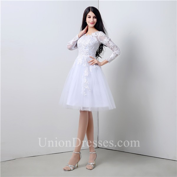 Princess A Line Short White Tulle Lace Party Prom Dress With Sleeves