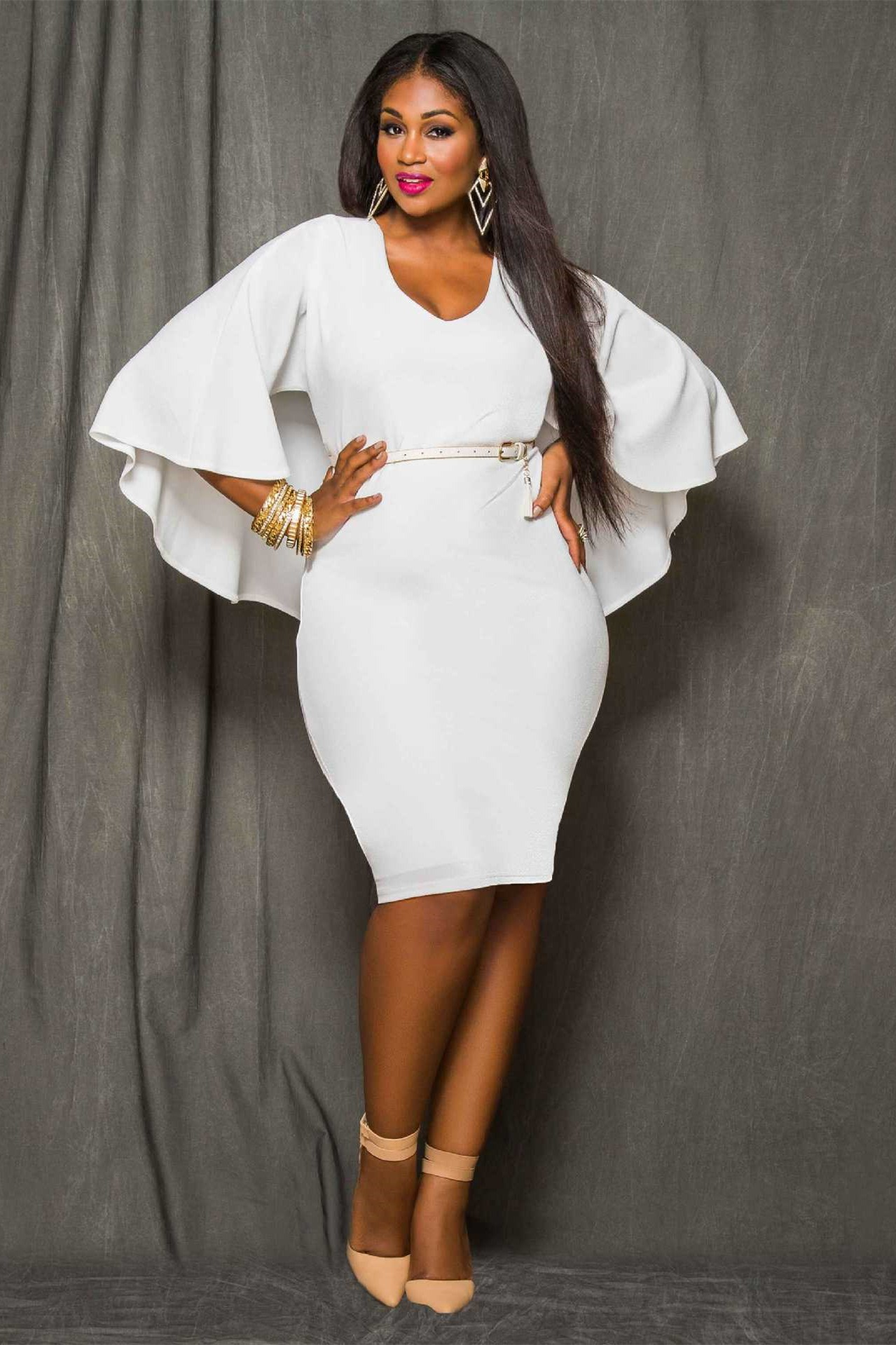 Scoop Neck Cape Sleeve Short White Plus Size Women Dress