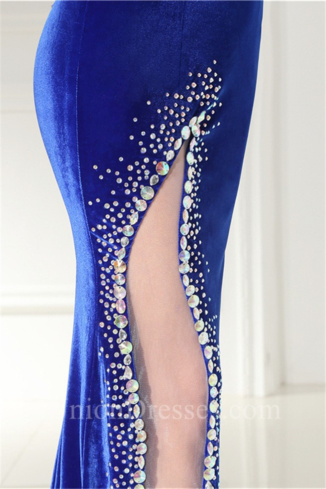 Sexy Deep V Neck Open Back Long Royal Blue Velvet Beaded