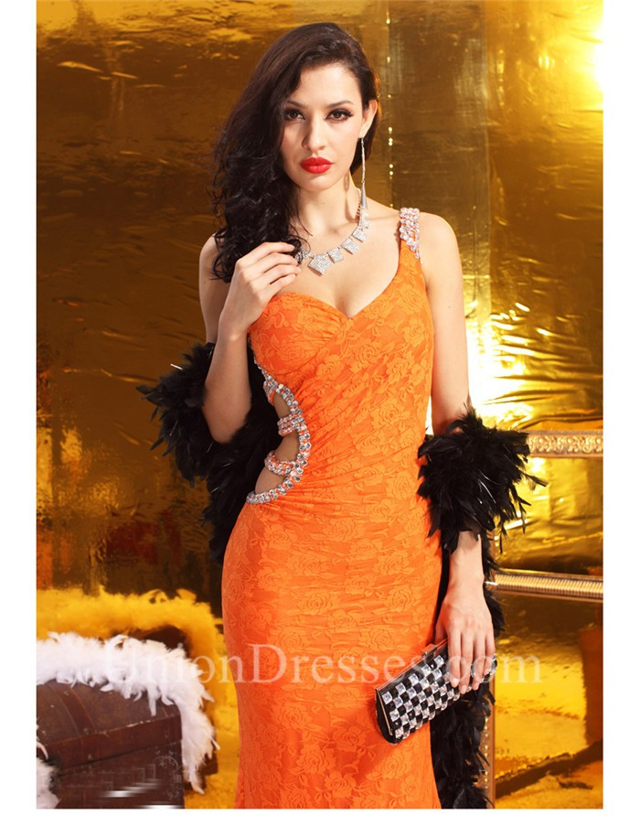 Sexy One Shoulder Cut Out Backless Orange Lace Beaded Evening Prom Dress