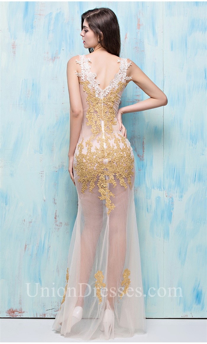 Sexy V Neck High Slit Sheer See Through Ivory Tulle Gold