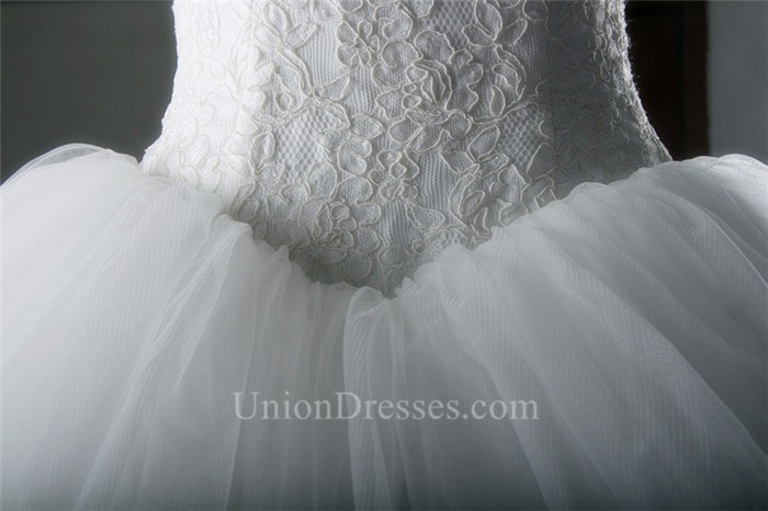 Simple Ball Gown Strapless Drop Waist Puffy Tulle Lace Corset Wedding Dress