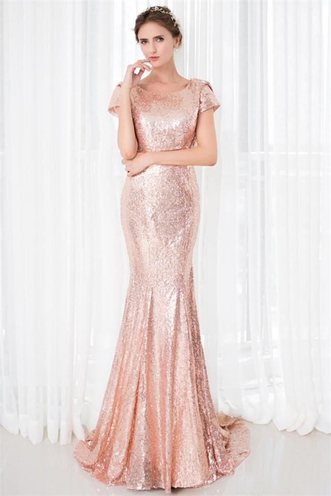 Slim Mermaid Scoop Neck Cowl Back Blush Pink Sequin Prom