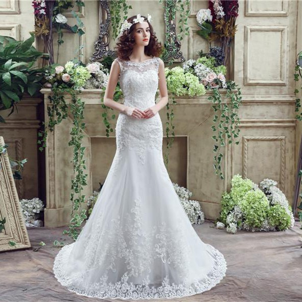 Trumpet Mermaid Scalloped Neck Low V Back Lace Wedding Dress With Buttons