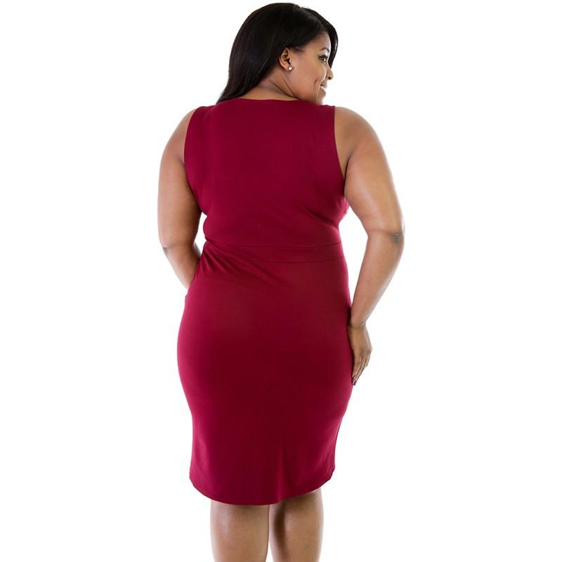 V Neck Front Zipper Short Burgundy Plus Size Dress For Women