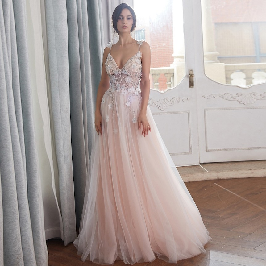 Romantic A Line Spaghetti Straps Blush Pink Tulle Beaded